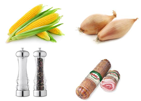 corn pancetta