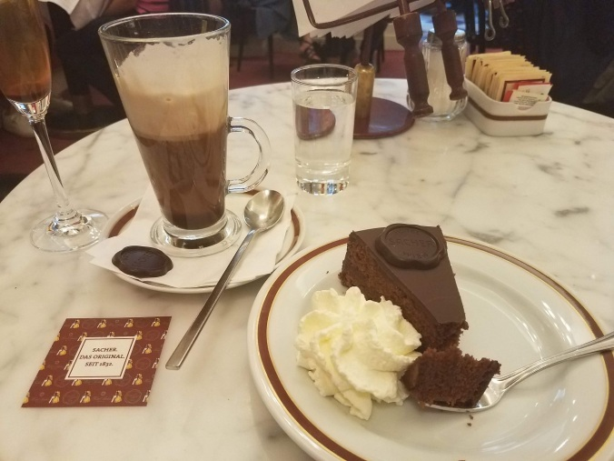 Torte and coffee at Sacher Cafe